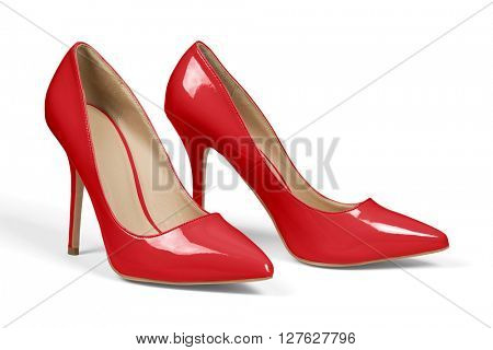 A pair of red high heel shoes isolated on white with clipping path.