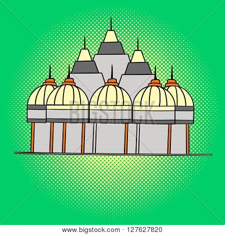 Shri Swaminarayan Mandir pop art vector. Beautiful adult looking at us, illustration isolated on white