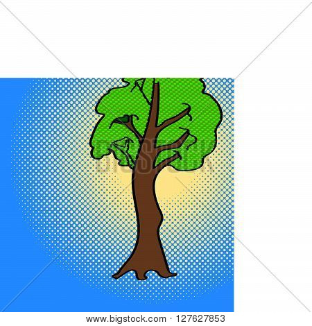 Maple pop art vector. Beautiful adult tree looking at us, illustration isolated on white