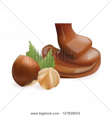 Vector Realistic Collection of Liquid Melted Pouring Chocolate and Nazelnut. Isolated on White Background. Design Element For Dessert Food Packaging and Wrapping