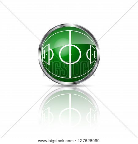 Green grass sphere with soccer field on a white clear background. Vector illustration.