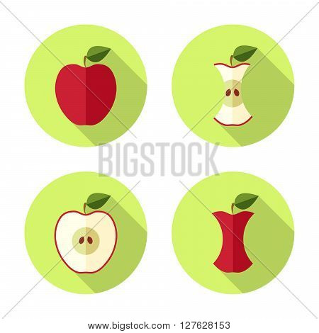 Apple and apple core in Flat style with shadow on green background. Vector Illustration
