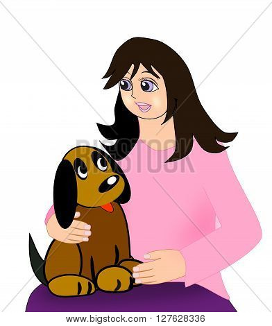 A girl sitting with a brown dog on her lap.