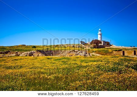 The old lighthouse in Paphos city, Cyprus