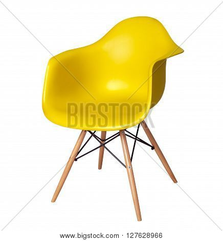 Modern chair stool of yellow color isolated on white background