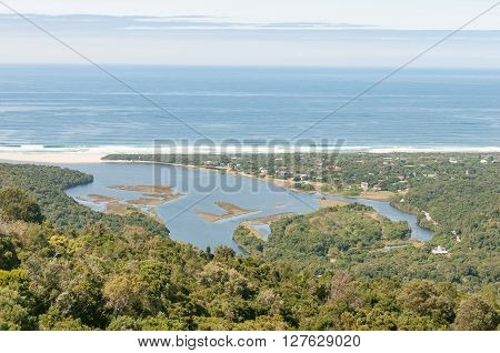 View of the lagoon at the mouth of the Groot River and the town of Natures Valley