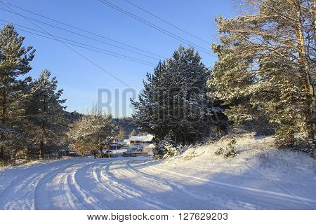 Winter landscape, Road in Russian village, Snow.