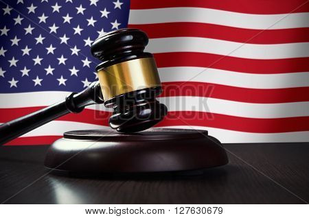 Wooden Gavel With Usa Flag In Background