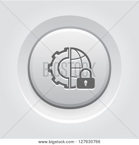 Global Security Icon. Business Concept. Grey Button Design