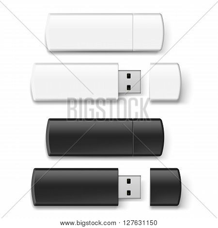 Set of black and white USB flash drive isolated on white background