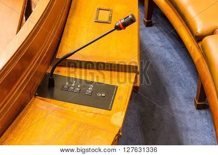 Microphone for speaking in a council chamber.