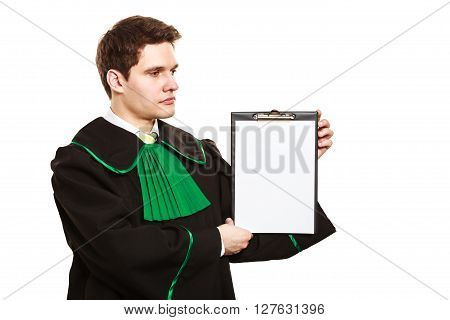 Young Male Lawyer Hold Clipboard.
