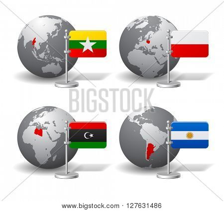 Gray Earth globes with designation of Myanmar, Poland, Libya and Argentina, with state flags. Vector illustration