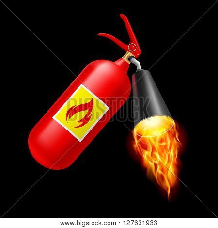 Red fire extinguisher with fire on black background. Fire safety