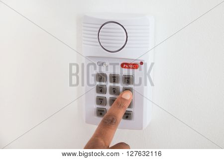 Businesswoman Hand Using Door Security System