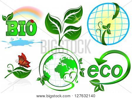 Eco set. 6 items on white background.