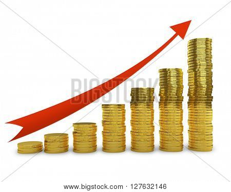 Golden coins stack graph with increasing red arrow 3D concept render.
