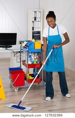 Female Worker Cleaning Floor In Office