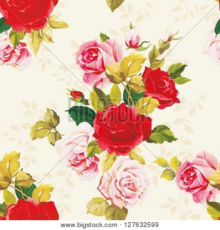 Seamless floral pattern red and rose Vector Illustration EPS8