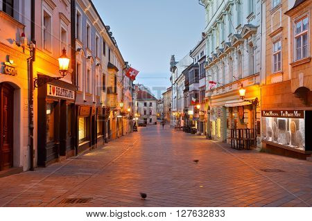 BRATISLAVA, SLOVAKIA - APRIL 23, 2016: One of the main streets of the old town in Bratislava on April 23, 2016.