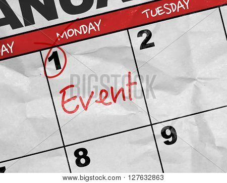 Concept image of a Calendar with the text: Event