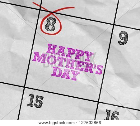 Concept image of a Calendar with the text: Happy Mothers Day