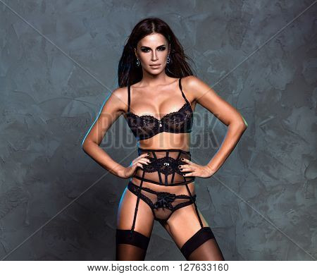 Elegant Sexy Lady In Lingerie.