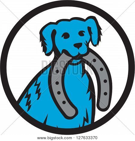 Illustration of a blue merle dog biting horseshoe viewed from front set inside circle on isolated background done in retro style.