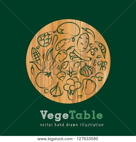 vector hand drawn collection of vegetables on wooden table