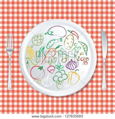 vector doodle hand drawn collection of vegetables on plate with red tablecloth