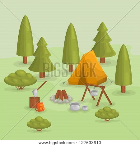Outdoor background. Backpacking.Hiking and camping. Vector set of various camping icons. Vector icons forest camping set with a pine or fir tree, tent, bush, dishes, backpack, campfire. Forest.