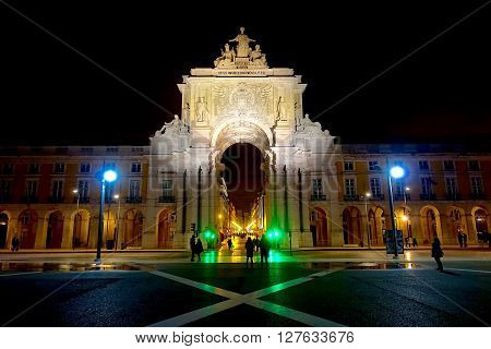 Lisbon, Portugal, January 9, 2016: The Arco da Rua Augusta in Lisbon, Portugal