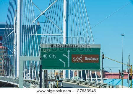 Johannesburg South Africa 28 March 2016: The Johannesburg Nelson Mandela bridge is modern and a major roadway through the city