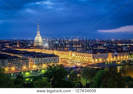 Turin (Torino) high definition panorama with Mole Antonelliana at twilight