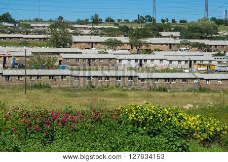 Johannesburg, South Africa 28 March 2016 The Johannesburg suburb of Soweto is a mixture of new public houses and poor dwellings