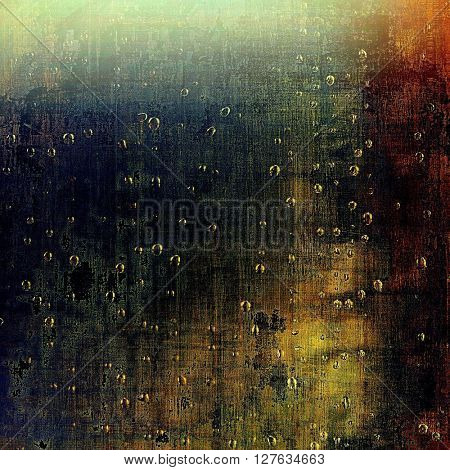 Aged background or texture. Vintage graphic composition with grunge style elements and different color patterns: yellow (beige); brown; blue; red (orange); black; cyan