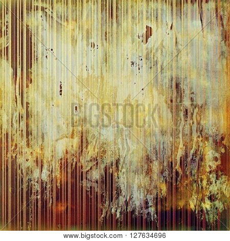Aged background or texture. Vintage graphic composition with grunge style elements and different color patterns: yellow (beige); brown; gray; red (orange); pink; cyan