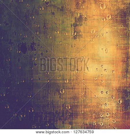 Old style decorative composition or designed vintage template with textured grunge elements and different color patterns: yellow (beige); brown; gray; green; blue