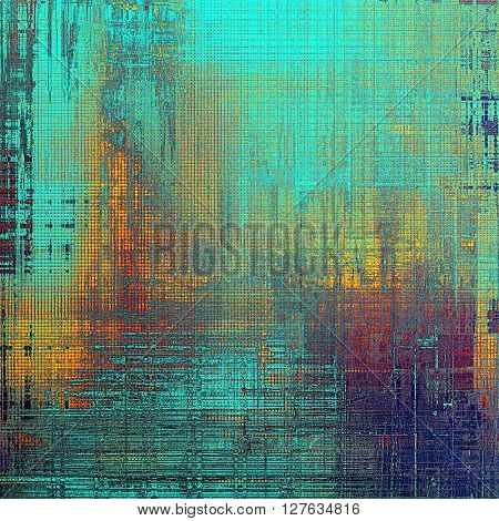 Retro background with vintage style design elements, scratched grunge texture, and different color patterns: yellow (beige); blue; red (orange); purple (violet); pink; cyan