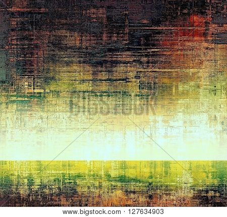 Grunge background with delicate aged texture. Antique backdrop with retro vintage elements and different color patterns: yellow (beige); green; red (orange); purple (violet); black; white