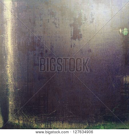 Vintage textured background with copy space. Old style backdrop with different color patterns: brown; gray; green; blue; purple (violet); black