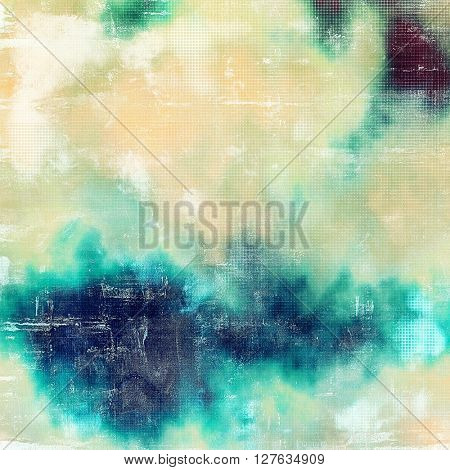 Grunge texture, aged or old style background with retro design elements and different color patterns: yellow (beige); green; blue; purple (violet); cyan; white