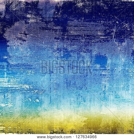 Old-style dirty background with textured vintage elements and different color patterns: yellow (beige); blue; cyan; white