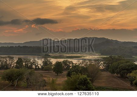 Chagres River and Mountains at Sunrise - Panama