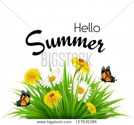 Happy summer holidays background with flowers and butterflies. Vector.