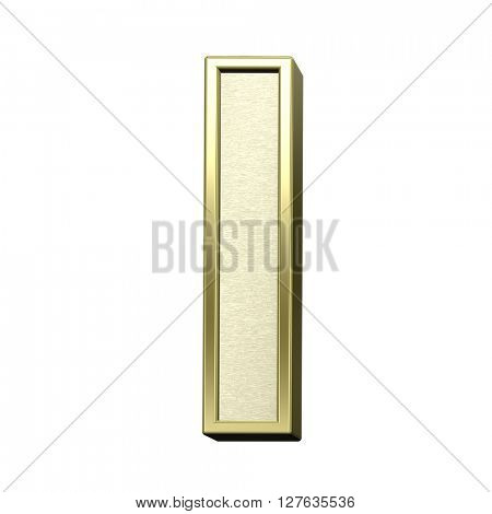 One letter from brushed gold with shiny frame alphabet set, isolated on white. 3D illustration.
