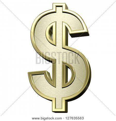 Dollar sign from brushed gold with shiny frame alphabet set, isolated on white. 3D illustration.