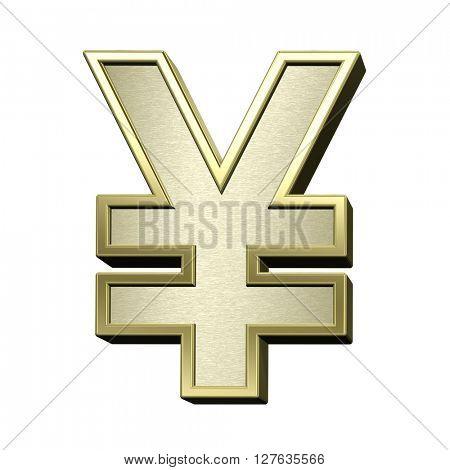 Yen sign from brushed gold with shiny frame alphabet set, isolated on white. 3D illustration.