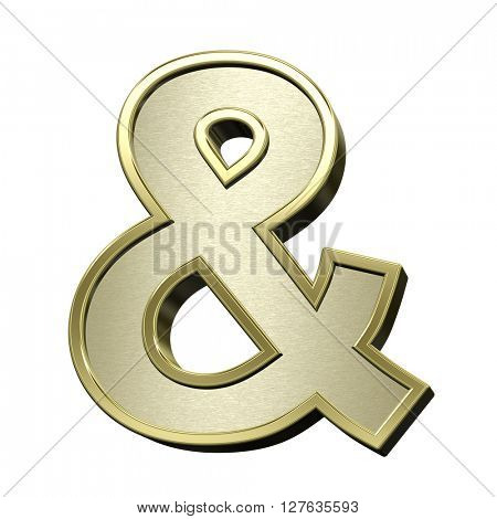 And sign from brushed gold with shiny frame alphabet set, isolated on white. 3D illustration.