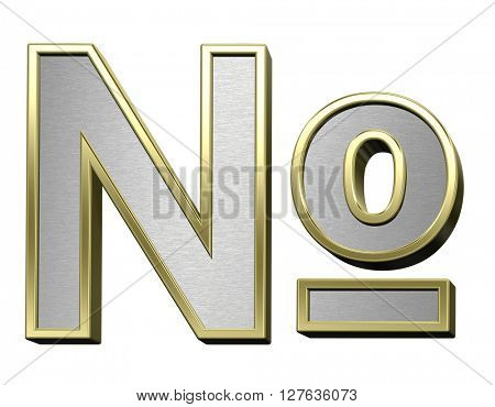 Number mark from brushed silver with shiny gold frame alphabet set, isolated on white. 3D illustration.